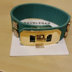 Baublebar vegan leather crystal gold teal bracelet